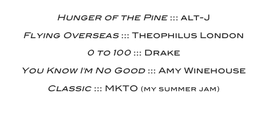 August 2014 Playlist
